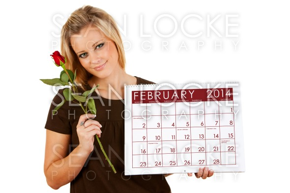 2014 Calendar: Holding a February Valentine Rose Stock Photography Content by Sean Locke