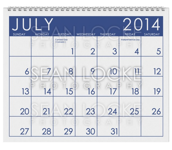 2014 Calendar: July Stock Photography Content by Sean Locke