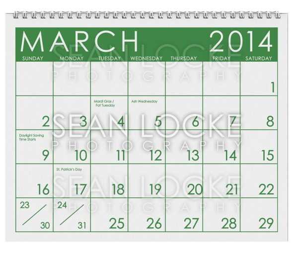 2014 Calendar: March Stock Photography Content by Sean Locke