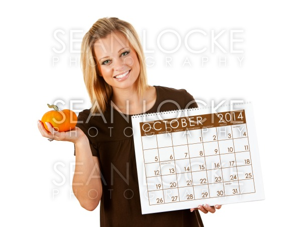 2014 Calendar: Woman Ready For Fall October Season Stock Photography Content by Sean Locke