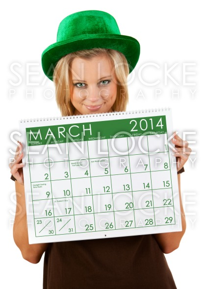 2014 Calendar: Girl Ready For March St. Patrick's Day Stock Photography Content by Sean Locke