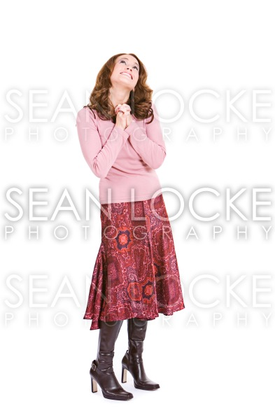 Casual: Hopeful Woman Wishing To Sky Stock Photography Content by Sean Locke