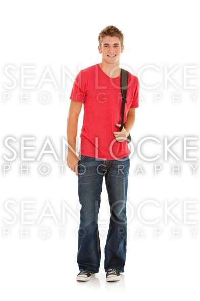 Students: Good Looking Male Student with Backpack Stock Photography Content by Sean Locke