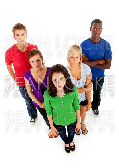 Students: Serious Multi-Ethnic Group Of Teenagers Stock Photography Content by Sean Locke