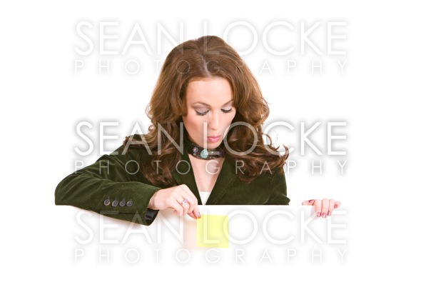 Casual: Woman Holding Sticky Note Over White Card Stock Photography Content by Sean Locke