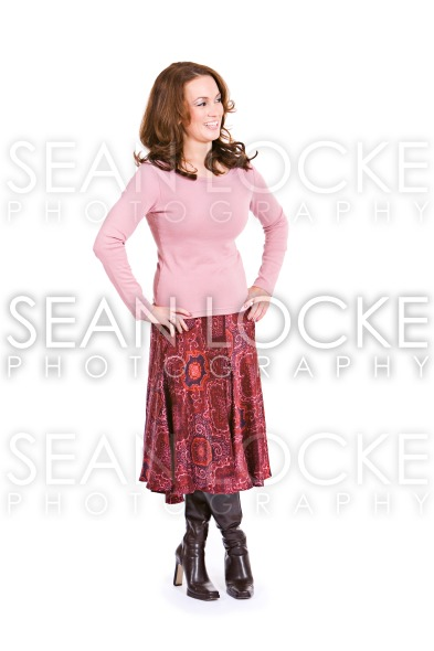 Casual: Laughing Woman Looks To Side Stock Photography Content by Sean Locke