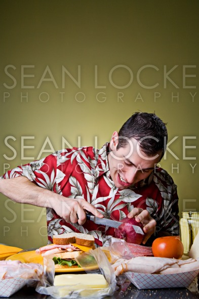 Sandwich: Man Starting To Cut Onion For Sandwich Stock Photography Content by Sean Locke