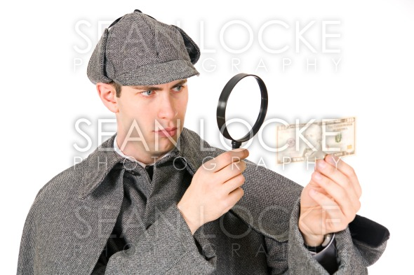 Sherlock: Curious Detective Looks at Money With Magnifying Glass Stock Photography Content by Sean Locke