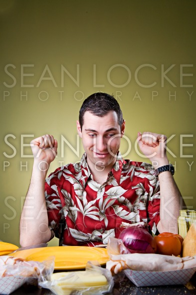 Sandwich: Man Ready To Make Sandwich From Ingredients Stock Photography Content by Sean Locke