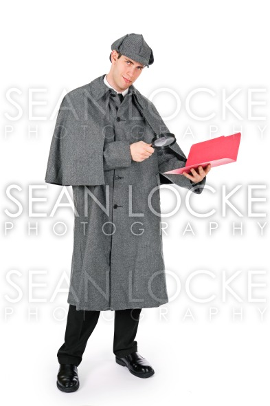 Sherlock: Detective Finds Secret in Documents Stock Photography Content by Sean Locke