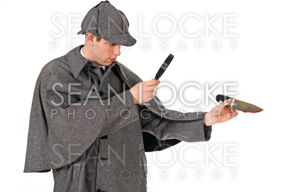 Sherlock: Man Examines Knife with Blood on It Stock Photography Content by Sean Locke