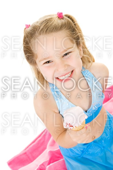 Girl: Having A Strawberry Ice Cream Cone Treat Stock Photography Content by Sean Locke