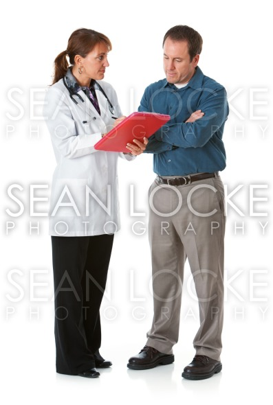 Doctor: Patient Looks at Test Results with Doctor Stock Photography Content by Sean Locke