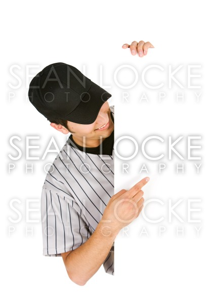 Baseball: Player Points To White Card Space Stock Photography Content by Sean Locke