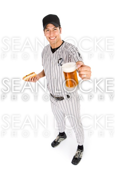 Baseball: Player Ready To Have Hot Dog And Beer For Snack Stock Photography Content by Sean Locke