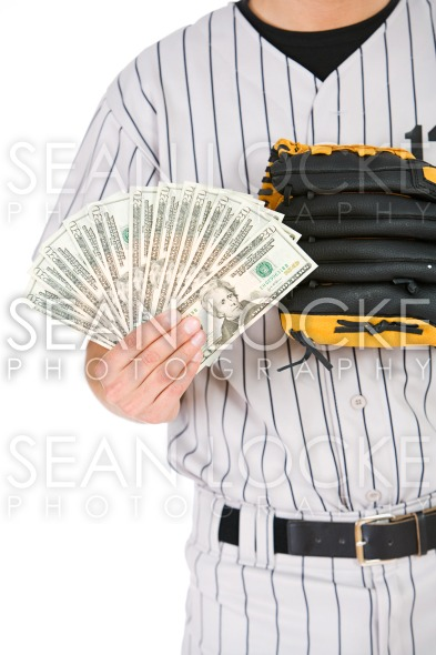 Baseball: Man Holding Fanned Out Cash Stock Photography Content by Sean Locke