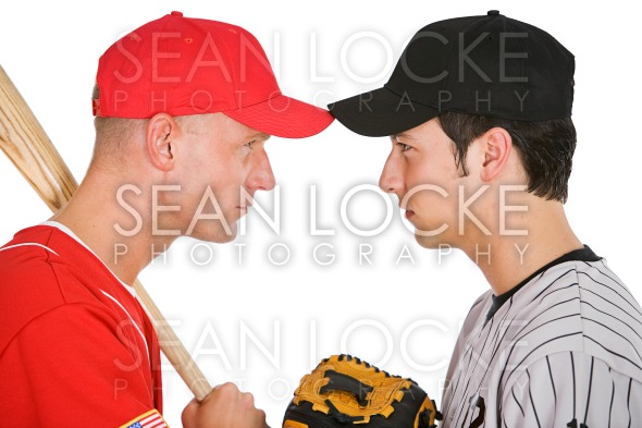 Baseball: Players From Opposing Teams Stand Eye to Eye Stock Photography Content by Sean Locke