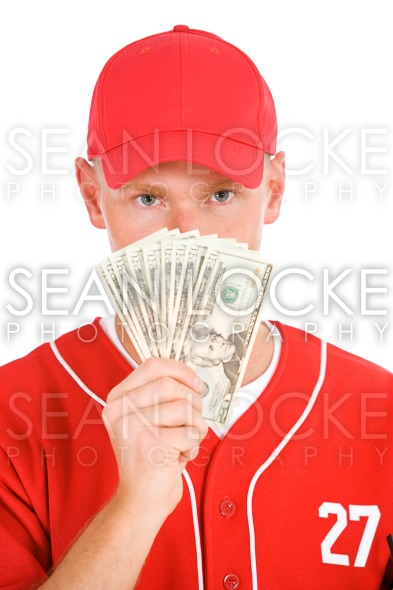 Baseball: Player Holding Up Fanned Out Money Stock Photography Content by Sean Locke
