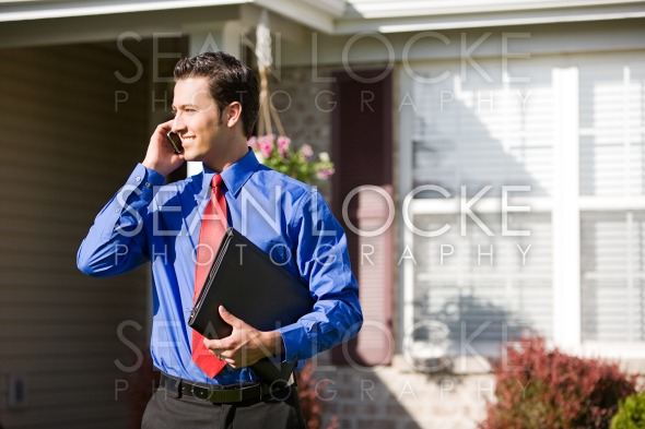 Home: Agent Waits Outside of House Stock Photography Content by Sean Locke
