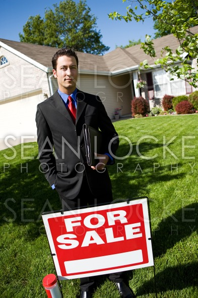Home: Agent with For Sale Sign Stock Photography Content by Sean Locke