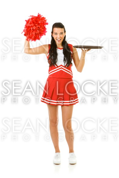 Cheerleader: Holding Empty Serving Tray Stock Photography Content by Sean Locke