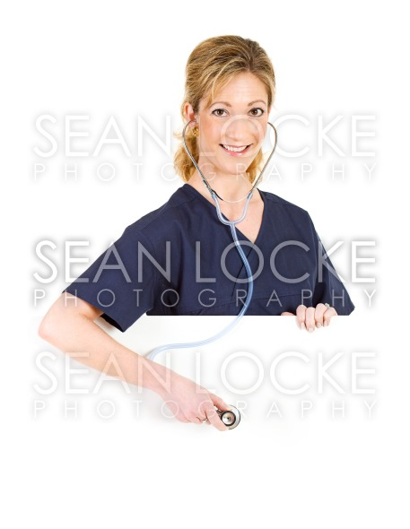 Doctor: Listening To Stethoscope From Behind White Card Stock Photography Content by Sean Locke