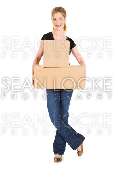 Boxes: Holding Boxes with Legs Crossed Stock Photography Content by Sean Locke