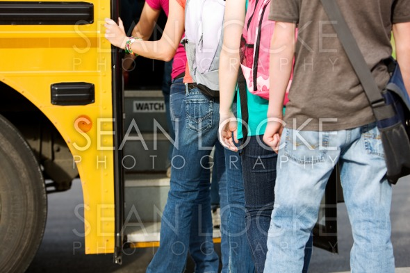 School Bus: Line of Students Leaving School Stock Photography Content by Sean Locke