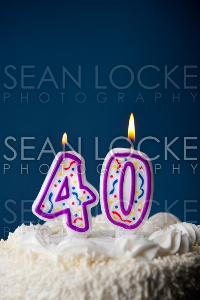 Cake: Birthday Cake With Candles For 40th Birthday Stock Photography Content by Sean Locke