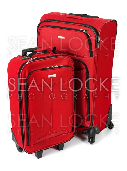 Baggage: Red Suitcase And Carry On Isolated on White Stock Photography Content by Sean Locke
