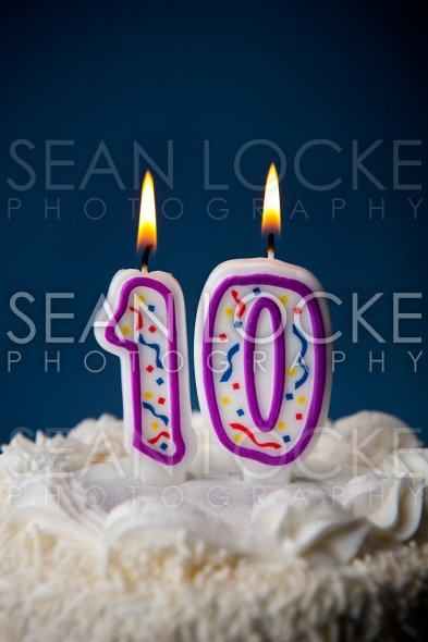 Cake: Birthday Cake With Candles For 10th Birthday Stock Photography Content by Sean Locke