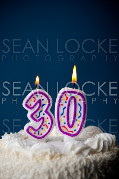 Cake: Birthday Cake With Candles For 30th Birthday Stock Photography Content by Sean Locke