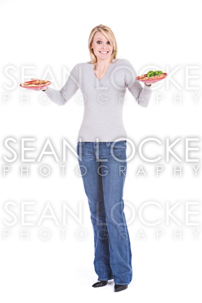 Choices: Woman Unsure Of What Food To Eat Stock Photography Content by Sean Locke