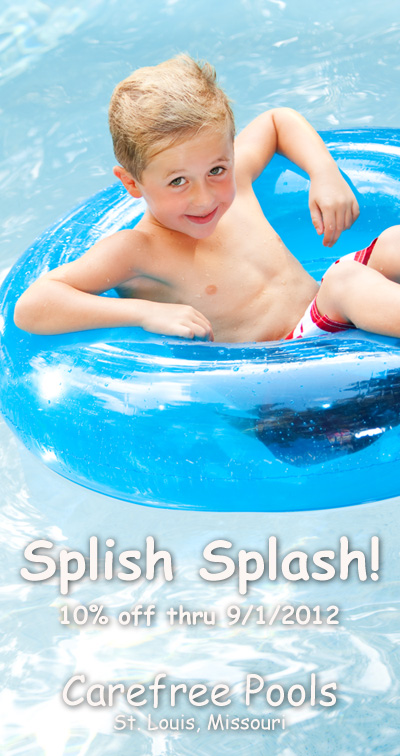 Swim advertisement with boy in pool.