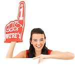 Cheerleader: Wearing a Foam Finger
