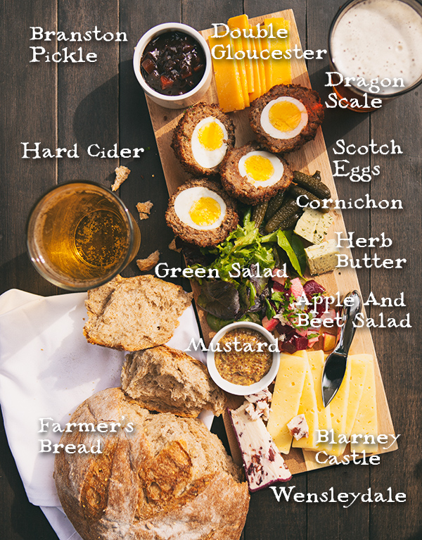 Pub food - the traditional Ploughman's Plate with Scotch Eggs, cheeses, farmer's bread, Branston Pickle, etc.